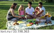 Купить «Happy young woman with her husband and two children enjoying picnic on green meadow together», видеоролик № 33198363, снято 12 июля 2019 г. (c) Яков Филимонов / Фотобанк Лори