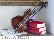 Купить «Old Violin and notes», фото № 33202555, снято 28 февраля 2020 г. (c) PantherMedia / Фотобанк Лори