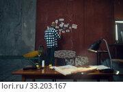 Купить «Maniac kidnapper looks at the ads of his victims», фото № 33203167, снято 13 ноября 2019 г. (c) Tryapitsyn Sergiy / Фотобанк Лори