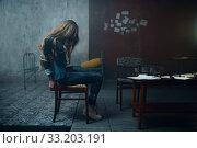 Купить «Female victim of maniac kidnapper with taped hands», фото № 33203191, снято 13 ноября 2019 г. (c) Tryapitsyn Sergiy / Фотобанк Лори
