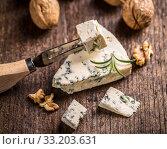 Купить «Slice of gorgonzola cheese», фото № 33203631, снято 4 августа 2020 г. (c) PantherMedia / Фотобанк Лори
