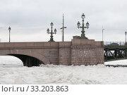 Купить «Троицкий мост и замерзшая Нева в районе набережной Кутузова. Санкт-Петербург», фото № 33203863, снято 13 февраля 2020 г. (c) Румянцева Наталия / Фотобанк Лори