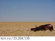 Купить «Scrap car in the savannah», фото № 33204135, снято 22 февраля 2020 г. (c) PantherMedia / Фотобанк Лори