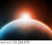 Купить «Sunrise over planet in space», фото № 33204879, снято 16 июля 2020 г. (c) PantherMedia / Фотобанк Лори