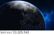Купить «Planet Earth in universe or space, Earth and galaxy in a nebula clouds», фото № 33205543, снято 28 марта 2020 г. (c) PantherMedia / Фотобанк Лори