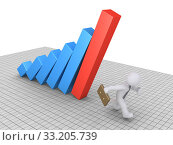 Купить «Businessman avoiding graph», фото № 33205739, снято 24 февраля 2020 г. (c) PantherMedia / Фотобанк Лори