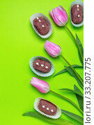 Traditional truffle cakes. Dessert of Russian cuisine. Стоковое фото, фотограф Марина Сапрунова / Фотобанк Лори