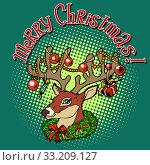 Купить «Deer Santa Claus merry Christmas», фото № 33209127, снято 10 июля 2020 г. (c) PantherMedia / Фотобанк Лори