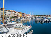 Купить «Pleasure boats in marina / yacht basin at Port-Vendres, Mediterranean fishing port along the Cote Vermeille, Pyrenees-Orientales, France. September 2018», фото № 33209147, снято 6 апреля 2020 г. (c) Nature Picture Library / Фотобанк Лори