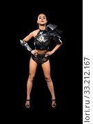 Купить «Woman in black bdsm lingerie full-length view», фото № 33212167, снято 30 января 2020 г. (c) Гурьянов Андрей / Фотобанк Лори