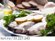 Купить «trout with parsley and lemon», фото № 33227243, снято 29 февраля 2020 г. (c) Татьяна Яцевич / Фотобанк Лори