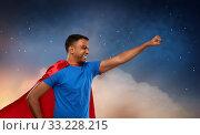 Купить «indian man in superhero cape makes winning gesture», фото № 33228215, снято 17 ноября 2019 г. (c) Syda Productions / Фотобанк Лори