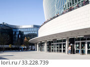 Купить «Visitors of the Mercedes-Bnez Arena at Mercedes-Platz in Berlin-Friedrichshain», фото № 33228739, снято 14 октября 2018 г. (c) Caro Photoagency / Фотобанк Лори