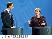 Berlin, Germany - Chancellor Angela Merkel and the Chancellor of the Republic of Austria Sebastian Kurz. (2020 год). Редакционное фото, агентство Caro Photoagency / Фотобанк Лори