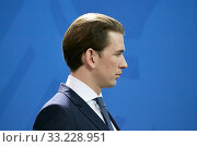Купить «Berlin, Germany - Sebastian Kurz, Federal Chancellor of the Republic of Austria.», фото № 33228951, снято 3 февраля 2020 г. (c) Caro Photoagency / Фотобанк Лори