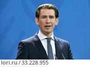 Купить «Berlin, Germany - Sebastian Kurz, Federal Chancellor of the Republic of Austria.», фото № 33228955, снято 3 февраля 2020 г. (c) Caro Photoagency / Фотобанк Лори