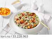 Купить «macaroni salad with green peas, fried bacon», фото № 33228963, снято 28 ноября 2019 г. (c) Oksana Zh / Фотобанк Лори