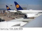 Frankfurt am Main, Germany, Lufthansa aircraft at Frankfurt Airport (2019 год). Редакционное фото, агентство Caro Photoagency / Фотобанк Лори