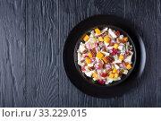 Купить «modern apple salad with pecan nuts, flatlay», фото № 33229015, снято 29 ноября 2019 г. (c) Oksana Zh / Фотобанк Лори