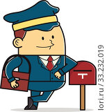 Cartoon Illustration of a Mail Man. Стоковая иллюстрация, иллюстратор Bambang Hadiansah / PantherMedia / Фотобанк Лори