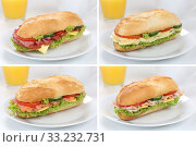 Купить «Collection of sandwiches baguettes for breakfast with ham,salami,cheese and orange juice», фото № 33232731, снято 30 мая 2020 г. (c) PantherMedia / Фотобанк Лори