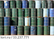 Купить «Oil barrels background», фото № 33237771, снято 5 июля 2020 г. (c) PantherMedia / Фотобанк Лори