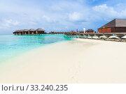 Купить «beach in Maldives», фото № 33240235, снято 2 июня 2020 г. (c) PantherMedia / Фотобанк Лори