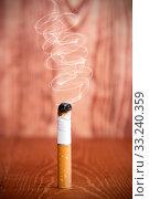 Купить «Smoking cigarette butt», фото № 33240359, снято 28 февраля 2020 г. (c) PantherMedia / Фотобанк Лори