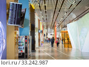 Купить «Интерьер аэропорта Кольцово, Екатеринбург», фото № 33242987, снято 11 июля 2015 г. (c) Кекяляйнен Андрей / Фотобанк Лори