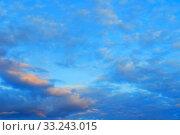 Купить «Sunset sky background. Picturesque colorful clouds lit by sunlight. Vast sky landscape panoramic scene», фото № 33243015, снято 15 июля 2019 г. (c) Зезелина Марина / Фотобанк Лори