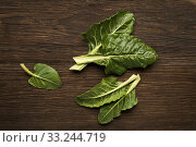Fresh swiss chard leaves on a wooden background. Стоковое фото, фотограф Dusan Zidar / PantherMedia / Фотобанк Лори