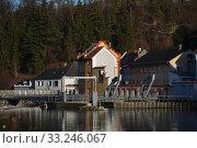 Steinbach an der Steyr,River,Steyr,Steyrtal,Wehr,Dorf,Bridge,Church. Стоковое фото, фотограф Thomas Riegler / PantherMedia / Фотобанк Лори