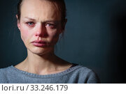 Купить «Young woman suffering from severe depression/anxiety/sadness», фото № 33246179, снято 29 марта 2020 г. (c) PantherMedia / Фотобанк Лори