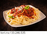 Купить «Italian spaghetti Bolognaise», фото № 33246535, снято 30 марта 2020 г. (c) PantherMedia / Фотобанк Лори