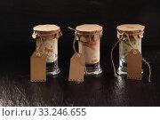 Купить «Three glass jars of homemade savory dips», фото № 33246655, снято 30 марта 2020 г. (c) PantherMedia / Фотобанк Лори