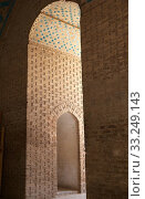 Architecture details at the Jame Mosque of Yazd,  the Friday Mosque,  Yazd,  Iran. The mosque is the grand congregational mosque of Yazd city. The mosque is depicted on the obverse of the iranian 200 rials banknote. Стоковое фото, фотограф Maurizio Bersanelli / PantherMedia / Фотобанк Лори