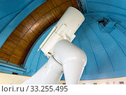 The huge professional telescope in The Bulgarian National Astronomical Observatory (Rozhen Observatory) from the inside. 200 cm Ritchey-Chretien telescope, supplied with Coude focus. Стоковое фото, фотограф Zoonar.com/Cylonphoto / age Fotostock / Фотобанк Лори