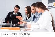 Купить «colleagues in negotiations in conference room», фото № 33259879, снято 26 мая 2020 г. (c) Татьяна Яцевич / Фотобанк Лори