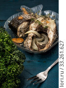 Seafood.Delicious fried fish in portions. Стоковое фото, фотограф Mykola Lunov / PantherMedia / Фотобанк Лори