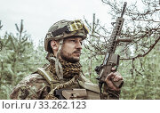 Купить «Handsome man in italian military uniform camouflage coloring Digital Vegetato», фото № 33262123, снято 22 апреля 2017 г. (c) katalinks / Фотобанк Лори
