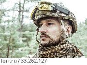 Купить «Handsome man in italian military uniform camouflage coloring Digital Vegetato», фото № 33262127, снято 22 апреля 2017 г. (c) katalinks / Фотобанк Лори