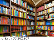 Moscow, Russia - Feb 21. 2020. Shelves with books in Biblio Globus Interior - the largest and oldest book store in Russia. Редакционное фото, фотограф Володина Ольга / Фотобанк Лори