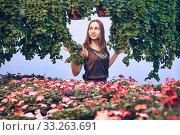Купить «Young woman in a dress among flowers on a light blue background», фото № 33263691, снято 16 февраля 2020 г. (c) Евгений Харитонов / Фотобанк Лори