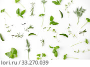 Купить «greens, spices or herbs on white background», фото № 33270039, снято 12 июля 2018 г. (c) Syda Productions / Фотобанк Лори