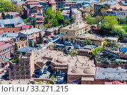 View of the old city of Tbilisi and sulfur baths from a height. Georgia. Редакционное фото, фотограф Николай Коржов / Фотобанк Лори