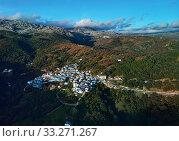 Aerial view Juzcar village, Malaga, Spain (2019 год). Стоковое фото, фотограф Alexander Tihonovs / Фотобанк Лори