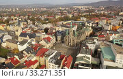 Купить «Aerial view of Liberec cityscape with buildings and streets, Czech Republic», видеоролик № 33271351, снято 19 октября 2019 г. (c) Яков Филимонов / Фотобанк Лори