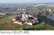 Купить «Aerial view of Pilgrimage Church of Saint John of Nepomuk, Zdar nad Sazavou, Czech Republic», видеоролик № 33271435, снято 15 октября 2019 г. (c) Яков Филимонов / Фотобанк Лори