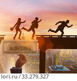 Купить «Financial concept crossing dollar bridge», фото № 33279327, снято 4 июля 2020 г. (c) Elnur / Фотобанк Лори