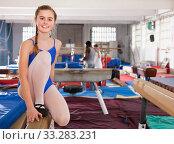 Teenage girl training gymnastics. Стоковое фото, фотограф Яков Филимонов / Фотобанк Лори
